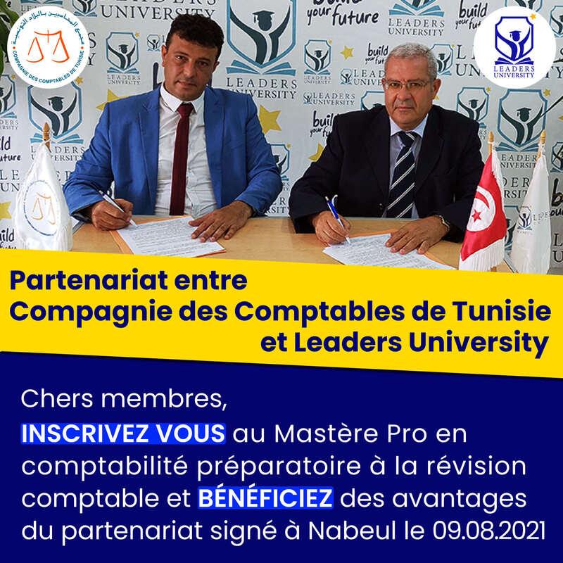 Convention de partenariat entre la Compagnie des Comptables de Tunisie et Leaders University de Nabeul